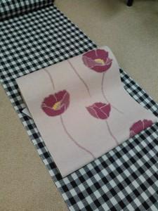 片貝綿麻きもの(深紫格子)&きくちいまオリジナル八寸帯