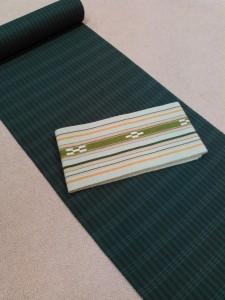 片貝綿麻きもの(グレー格子)&ミンサー半巾帯