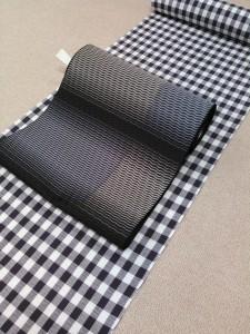 片貝綿麻きもの(深紫格子)&博多織八寸帯