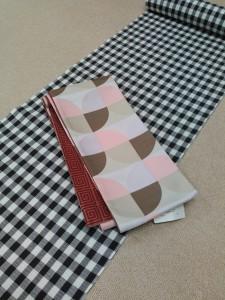片貝綿麻きもの(深紫格子)&リバーシブル半巾帯