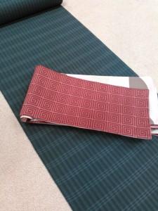 片貝綿麻きもの(グレー格子)&リバーシブル半巾帯